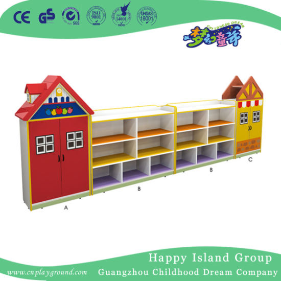Preschool Kfc Shaped Wooden Toy Storage Cabinet for Kids (HJ-6505)