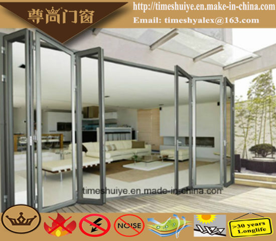 Aluminum Folding Door with Wooden Color pictures & photos