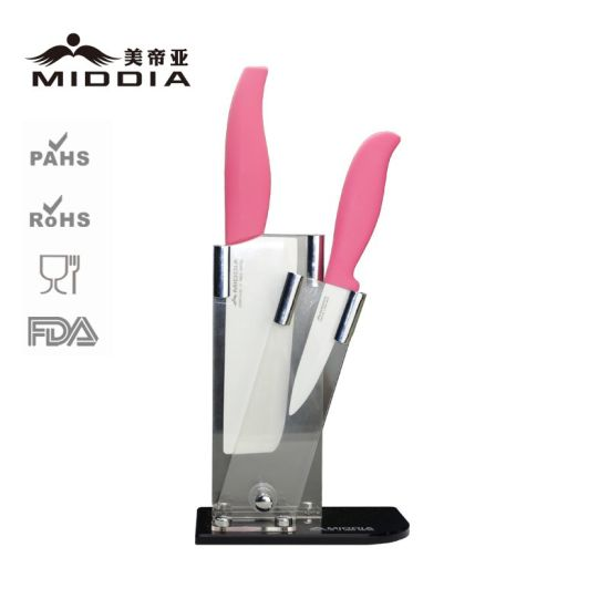3PCS Ceramic Kitchen Knife Set with Shelf pictures & photos