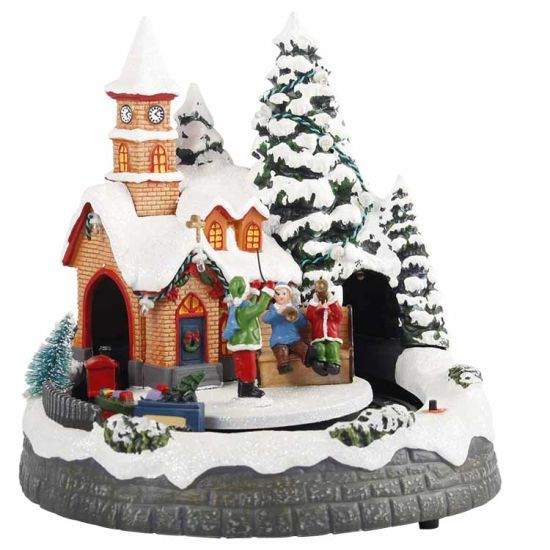 LED Music Polyresin Light House Christmas Village Scene with Train Moving