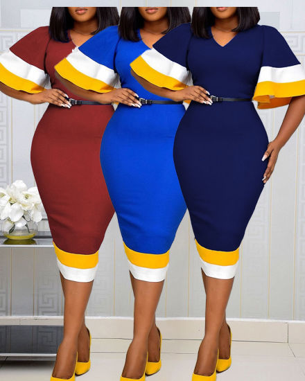 Guangzhou New Design Plus Size Color Blocking Bell Sleeve Women's Dresses