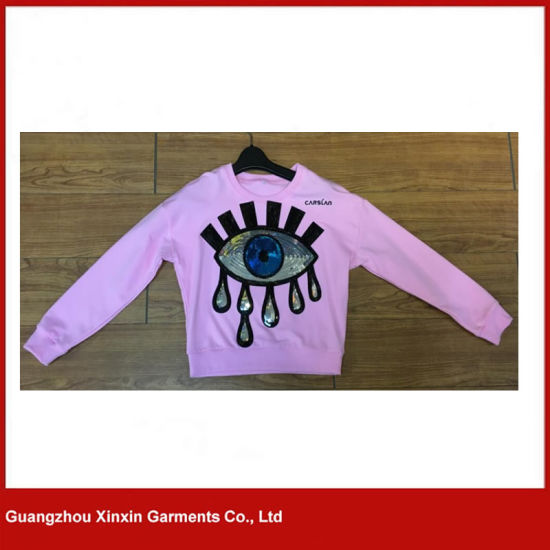 2017 Fashion Design Cotton Spandex Sequin Sweatshirts for Girl and Women (T92) pictures & photos