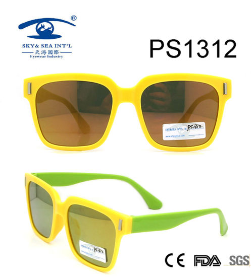 74c7b2eba481 Yellow Frame Square Colorful Kid Plastic Sunglasses (PS1312) pictures &  photos