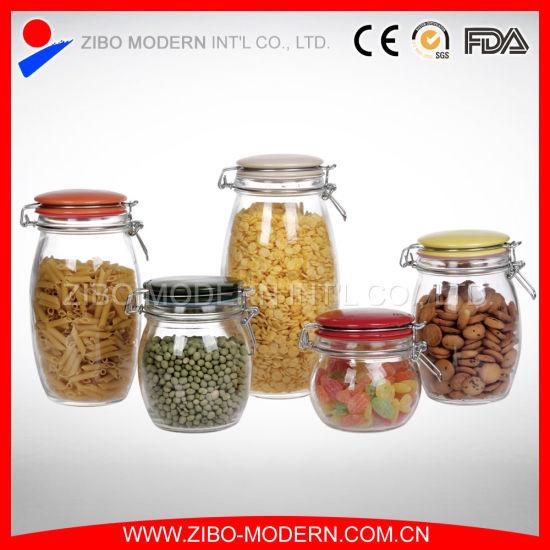 Set 5 Cheap Glass Jars Bulk Airtight Lid Food Square Jar