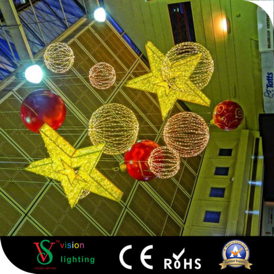 christmas shopping mall giant hanging star decoration lights