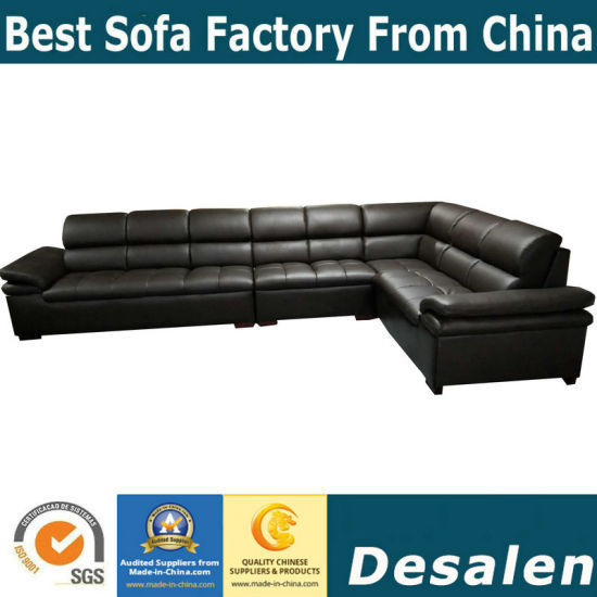 Hot Sell Brown Color L Shape Office Furniture Leather Sofa (A34 1)