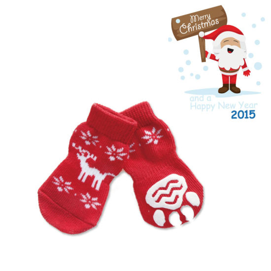 Supply Christmas Deer Print Catoon Tube Non Slip Pet Product Dog Sock Accessories pictures & photos