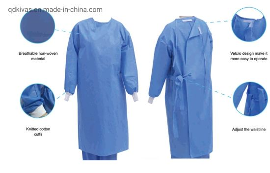 Factory Medical Consumable SMS Standard Disposable Sterile Surgical Gown