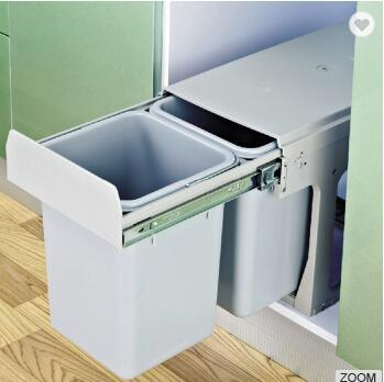 Kitchen Accessories Double-Bucket Pull out Garbage Trash Bin ...
