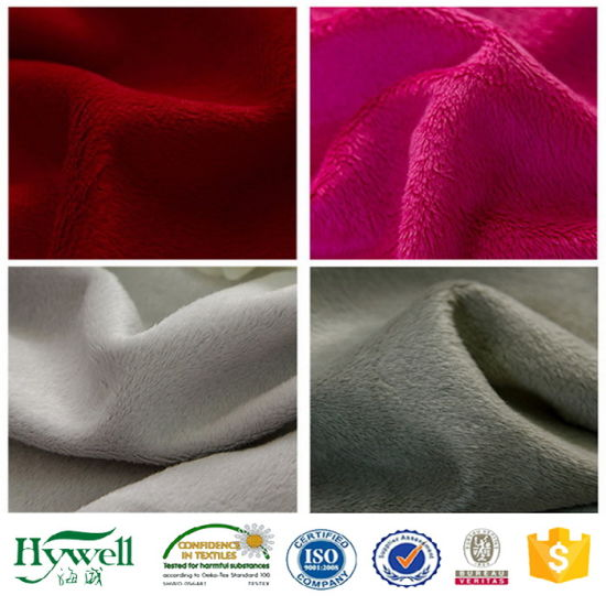 100% Polyester Colorful Super Soft Micro Velboa Fabric for Blanket pictures & photos