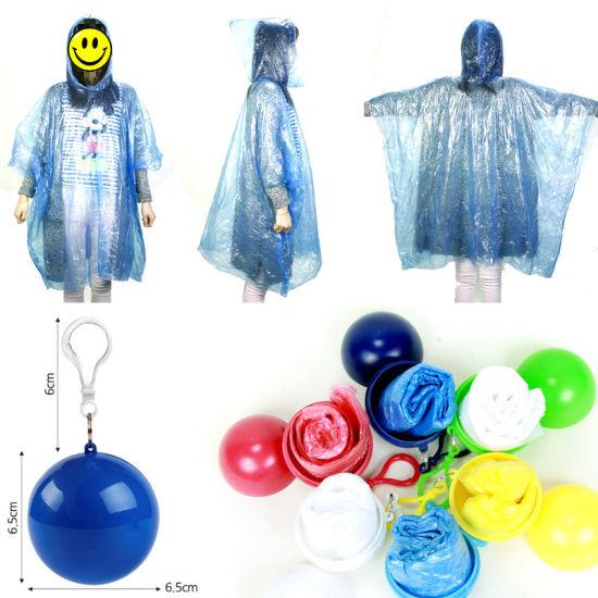 China Disposable Rain Poncho Ball Rain Poncho 2018 - China