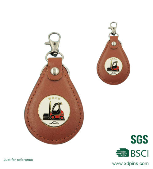 Custom Promotion Leather Keychain with Stamped Logo pictures & photos