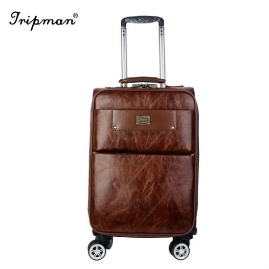 PU Leather Soft Side 360 Degree Wheels Inside Trolley Luggage pictures & photos