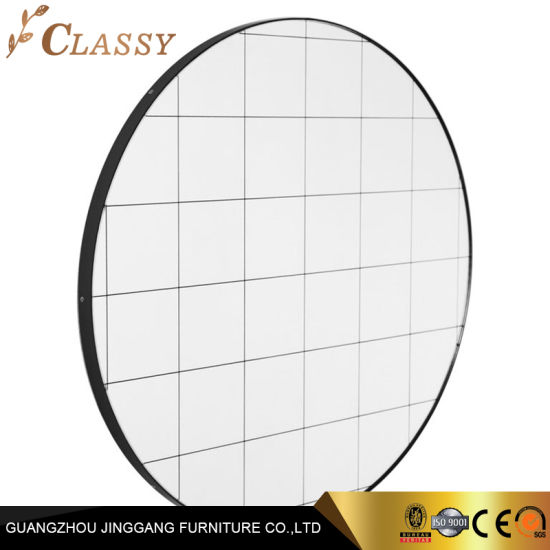 Nature Art Hotel Bedroom Bathroom Round Shaped Black Grid Elegant Design Mirror