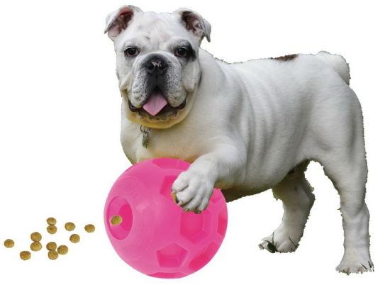 Smart Vinyl Football Dog Treat Ball-Pink Edition