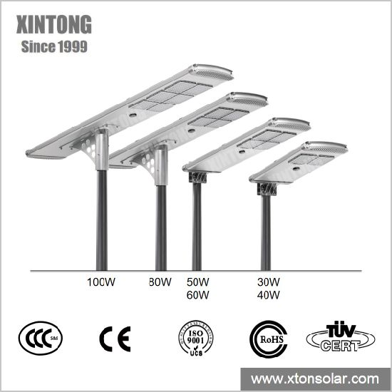 All in One Integrated Outdoor Solar LED Street Garden Home Light for Control System with Battery and Panel 30W 40W 50W 60W 80W 100W