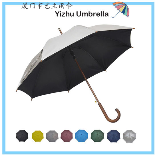 """Stick Umbrella Automatic Open Curved Wooden Hook Handle Rain Silver/Black Umbrellas with Classic J Handle 48"""" Arc Classic Windproof for Men and Women (YZ-20-44)"""