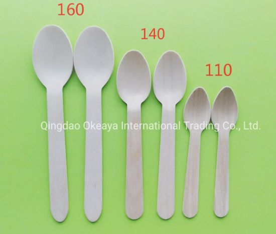 Disposable Eco-Friendly Natural Wood Spoon Fork Knife Cutlery