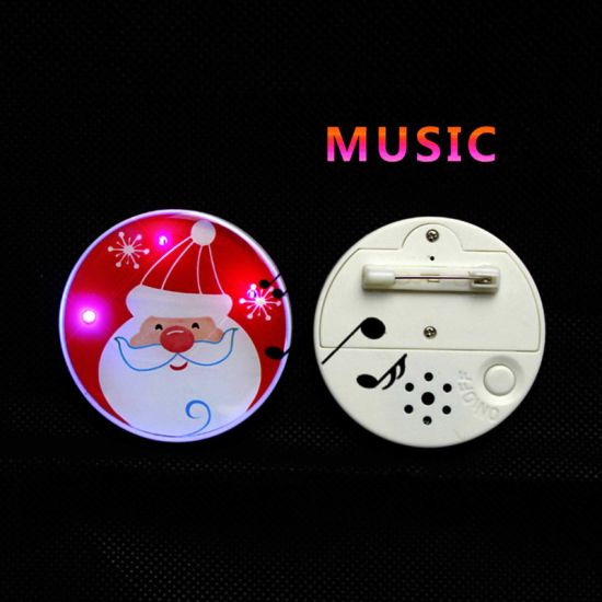 Christmas Promotional Gift Source Manufacturer LED Flash Music Badge