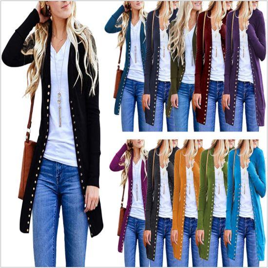 Large Size Women's Fashion Medium Long Button Solid Color Coat Women Cardigan Coat