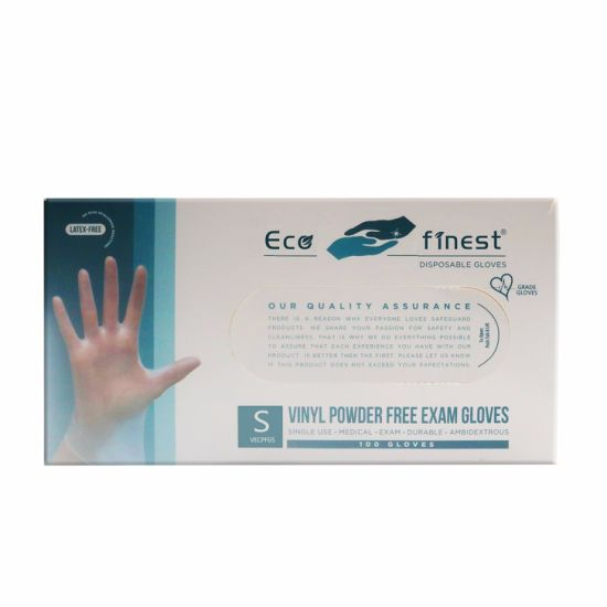 Eco Finest Disposable Vinyl PVC Gloves, Small (100 Pack Bulk) (M/L/XL Available) , Latex Free / Powder Free, for Hand Protection / Food Handling