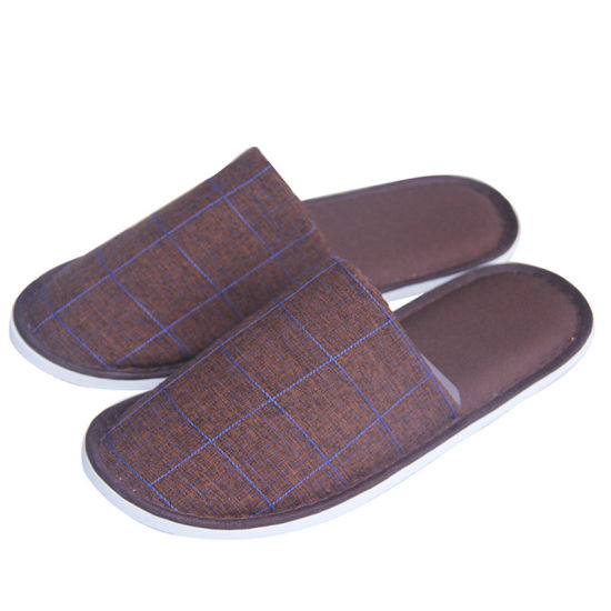 Dard Brown Color Polyester Taffeta Rip-Stop  Cotton Material Hotel Slippers to Hongkong