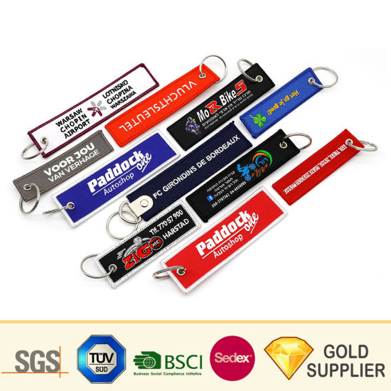 China New Custom Logo Embroidery Fabric Woven Key Chain
