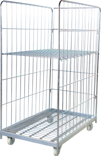Foldable Warehouse Galvanized Logistic Wire Mesh Rolling Cart pictures & photos