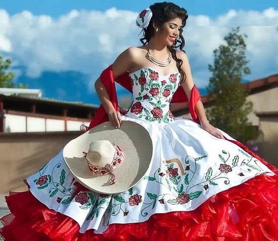 11901630738 Embroidery Quinceanera Dresses White Red Organza Colored Wedding Ball Gowns  Z3034 pictures   photos