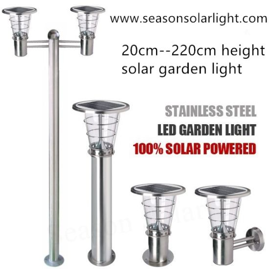 Smart 2m Outdoor Courtyard Landscape Pathway Lights 5W LED Solar Garden Light with Warm+White LED Light Lamp