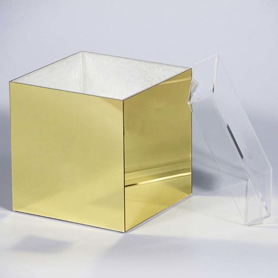 Anhui Yageli Display Co. Ltd. & China Gold Mirrored Acrylic Rose Flower Gift Box/Case/Vase/Container ...
