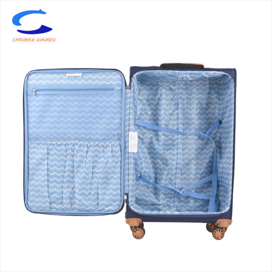 China ODM OEM 28′′ Blue Super Light Weight Nylon Softside Airport Spinner Wheel Carry on Suitcase Travel Trolley Luggage pictures & photos