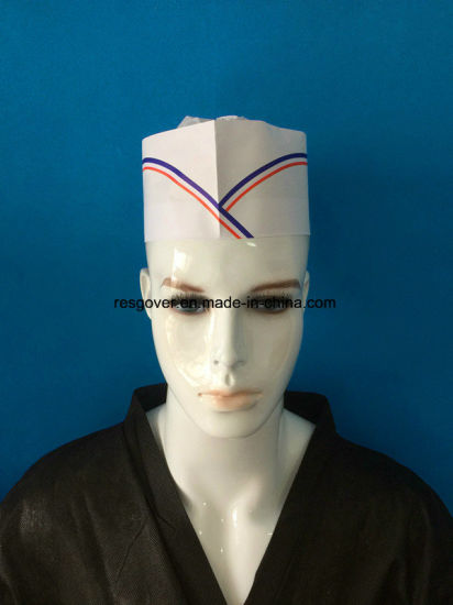 Paper Forage Cap Paper Chef Hat with Single Blue Strip