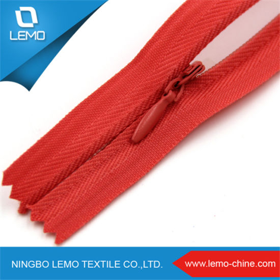 Red Lace Tape 14 Inch Close End Nylon Concealed Zips Reversible Invisible Zippers