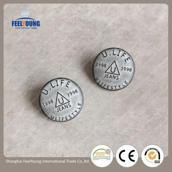 Hot Sale Custom Made Engraved Logo Design Round Metal Buttons Metal Snap  Button for Jeans Coats