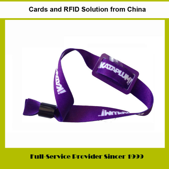 Nylon/Polyester Woven Wristband with Mini Plastic PVC Card RFID/NFC Tag Used for Access Control System