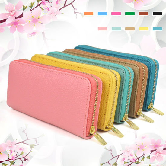 Ladies Clutch Bag Bifold Blocking PU Leather Woman Wallet pictures & photos