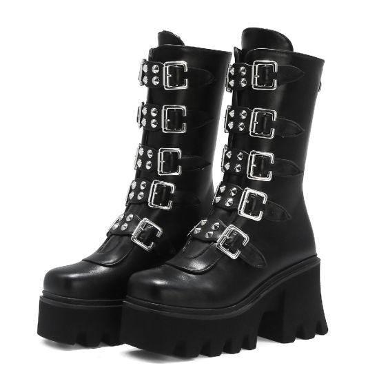 New Women Shoes Ladies Shoes Buckles Lady Shoes Military High Heels Long Boots