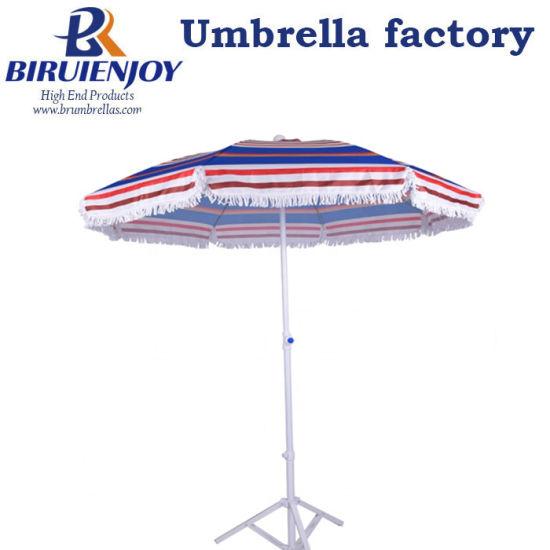 High Quality Portable Frinted Sun Beach Umbrella with Cotton Tassel 2 Meter Stripe Printed