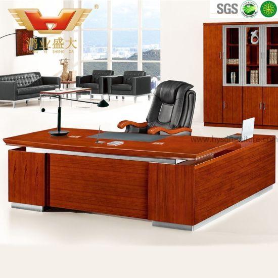 Modern Teak Veneer L Shaped Executive Office Desk (HY D5124)