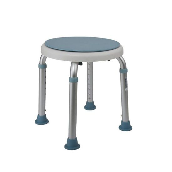 Multi-Function Aluminum Alloy Round Shower Chair with Rotating Panel