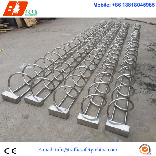 Carton Steel & Stainless Steel Vertical Column Type Bicycle Parker Stand pictures & photos