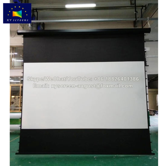 Xy Screens 200 Inch 16: 9 Large Tab Tension Motorized Projection Screen  with Custom Black Drop