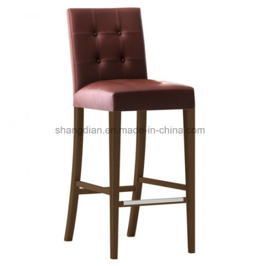 Wooden Bar Stool Fabric Oak Wood For Hotel Cafe Kl S05