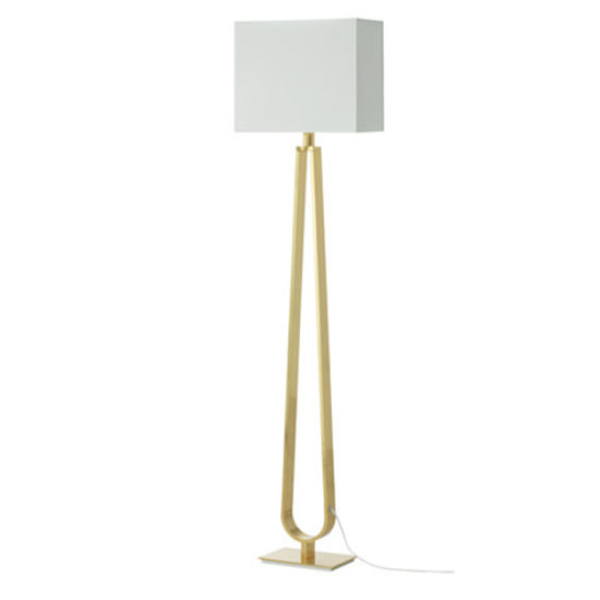 Post Modern Hotel Bedside Standard Tall Lights Gold Standing Floor Lamp With Fabric Shade For Living Room