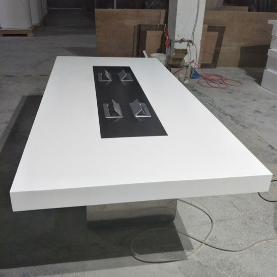 High End Artificial Quartz Stone White Square Design Modern Office Meeting Conference Table Pictures Photos