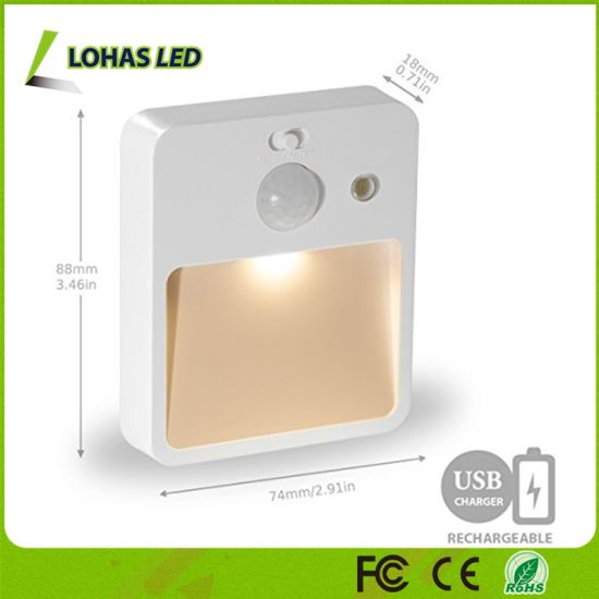 0.5W 5V USB Rechargeable PIR Sensor Night Light Bulb Wall Lamp pictures & photos
