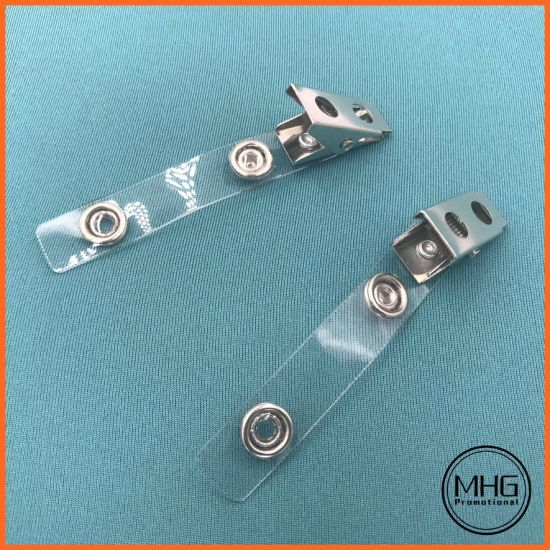 Clear Vinyl Straps with 2-Hole Nickel Plated Steel Clip 70mm