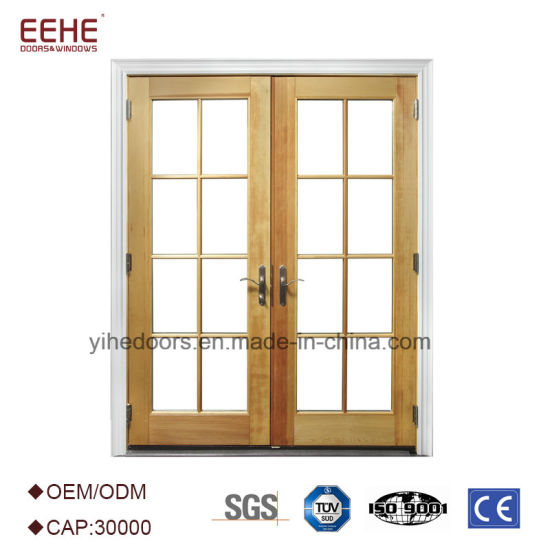 China Aluminum French Exterior Main Door With Tempered Glass China