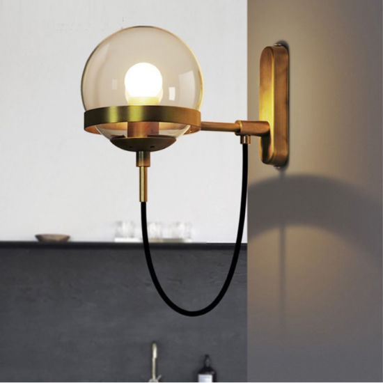 Post Modern Home Depot Bronze Glass Sconces Light Wall Lamp for Hotel, Living Room Bathroom